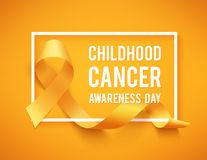 Childhood cancer day. Realistic gold ribbon, childhood cancer awareness symbol, vector illustration Royalty Free Stock Images