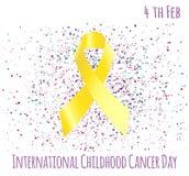 Childhood cancer day. Vector illustration of international childhood cancer day with ribbon. February 15 Vector Illustration