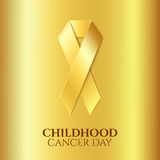 Childhood cancer golden ribbon. Royalty Free Stock Photography