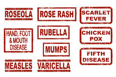 Childhood diseases. Set of red ink stamps childhood diseases Stock Image