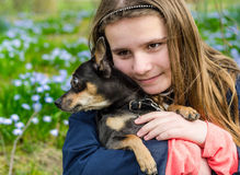 Childhood with dog Royalty Free Stock Photos