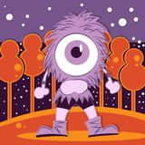 Childhood drawing purple monster Stock Photography