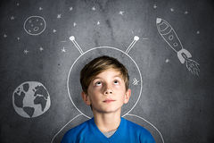 Childhood Dreams. Boy with infantile wish for the future Royalty Free Stock Images