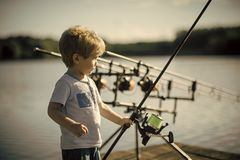 Childhood, education, training. Little boy learn to catch fish in lake or river. Summer vacation, hobby, lifestyle. Child with fishing rod on wooden pier royalty free stock images