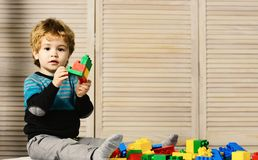 Childhood and educational activities concept. Boy plays with lego. On wooden wall background, copy space. Toddler with curious face plays with colorful bricks royalty free stock photos