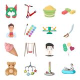 Childhood, entertainment and game,dessert ,toy.Baby Entertainment set collection icons in cartoon style vector symbol. Stock isometric illustration Stock Image