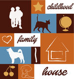 Childhood family house. Cat dog education friends cherry arrow hurt star globe Stock Photography