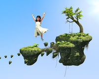 Childhood Fantasy Playground. Digital Illustration of a little girl's childhood fantasy playground on floating rocks Royalty Free Stock Image