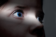 Childhood fears. Closeup of frightened yound child Stock Photography