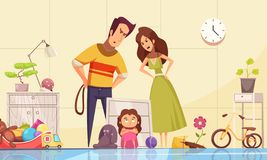 Childhood Fears Composition. With punishment in family symbols vector illustration stock illustration