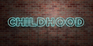 CHILDHOOD - fluorescent Neon tube Sign on brickwork - Front view - 3D rendered royalty free stock picture. Can be used for online banner ads and direct mailers Stock Images