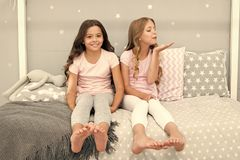 Childhood friendship concept. Girls best friends sleepover domestic party. Girlish leisure. Sleepover time for fun. Gossip story. Best friends forever royalty free stock photo