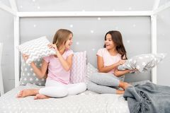 Childhood friendship concept. Girls happy best friends sleepover domestic party. Sleepover time for fun gossip story. Best girls sleepover party ideas stock image