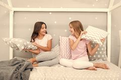 Childhood friendship concept. Girls happy best friends sleepover domestic party. Sleepover time for fun gossip story stock photo