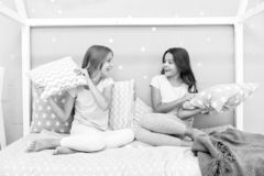 Childhood friendship concept. Girls happy best friends sleepover domestic party. Sleepover time for fun gossip story. Best girls sleepover party ideas stock images