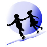 Childhood friendship. figure skating. Children silhouettes. boy and girl dancing on ice Stock Image