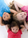 Childhood Girls. Three young girls growing up. Childhood, learning, exploration family Stock Photography