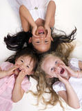Childhood Girls. Three young girls growing up. Childhood, learning, exploration family Royalty Free Stock Images