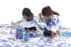 Childhood Girls floor painting Stock Photos