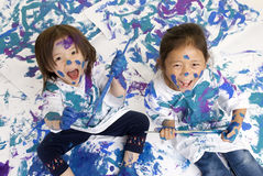 Childhood Girls floor painting Stock Photo