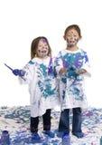 Childhood Girls floor painting Royalty Free Stock Photos