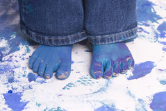 Childhood Girls floor painting Stock Images