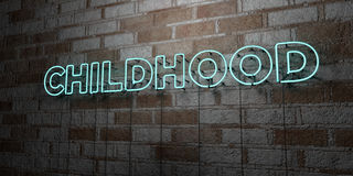 CHILDHOOD - Glowing Neon Sign on stonework wall - 3D rendered royalty free stock illustration. Can be used for online banner ads and direct mailers Stock Photos