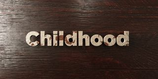 Childhood - grungy wooden headline on Maple  - 3D rendered royalty free stock image. This image can be used for an online website banner ad or a print postcard Royalty Free Stock Photo