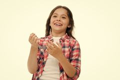 Childhood and happiness concept. Kid with cheerful face and brilliant smile isolated on white. Emotions concept. Sincere royalty free stock photography