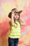 Childhood and happiness, farmer and sheriff, beauty and fashion, girl Royalty Free Stock Image