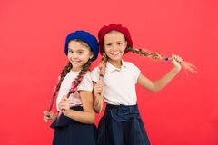 Childhood happiness. Friendship and sisterhood. Happy little sisters. Beauty and fashion. small kid fashion. childrens. Day. Back to school. small girl children stock photography