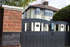 Childhood Home of John Lennon in Liverpool Stock Photos