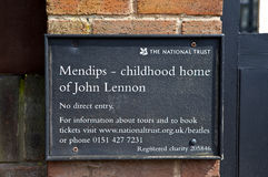 Childhood Home of John Lennon in Liverpool Stock Image