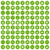 100 childhood icons hexagon green. 100 childhood icons set in green hexagon isolated vector illustration Royalty Free Stock Photo