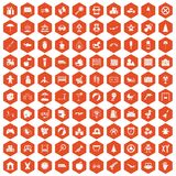 100 childhood icons hexagon orange. 100 childhood icons set in orange hexagon isolated vector illustration Stock Photos