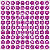 100 childhood icons hexagon violet Royalty Free Stock Photography