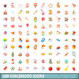 100 childhood icons set, cartoon style. 100 childhood icons set in cartoon style for any design vector illustration Stock Photo