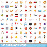 100 childhood icons set, cartoon style. 100 childhood icons set in cartoon style for any design vector illustration Royalty Free Stock Image