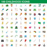 100 childhood icons set, cartoon style. 100 childhood icons set in cartoon style for any design illustration vector illustration