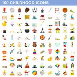 100 childhood icons set, flat style vector illustration