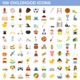 100 childhood icons set, flat style. 100 childhood icons set in flat style for any design vector illustration Stock Photo