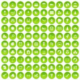 100 childhood icons set green. 100 childhood icons set in green circle isolated on white vectr illustration Stock Photos