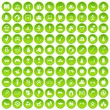 100 childhood icons set green circle. Isolated on white background vector illustration Stock Photos