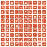 100 childhood icons set grunge orange. 100 childhood icons set in grunge style orange color isolated on white background vector illustration Royalty Free Stock Image