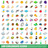 100 childhood icons set, isometric 3d style. 100 childhood icons set in isometric 3d style for any design vector illustration vector illustration