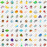 100 childhood icons set, isometric 3d style. 100 childhood icons set in isometric 3d style for any design vector illustration Royalty Free Stock Images