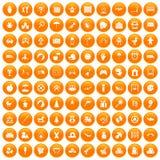 100 childhood icons set orange. 100 childhood icons set in orange circle isolated on white vector illustration Stock Images