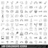 100 childhood icons set, outline style Royalty Free Stock Photos