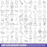 100 childhood icons set, outline style. 100 childhood icons set in outline style for any design vector illustration Stock Photos