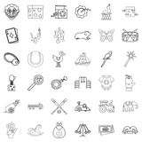 Childhood icons set, outline style. Childhood icons set. Outline style of 36 childhood vector icons for web isolated on white background Royalty Free Stock Photo